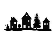 Houses Silhouette unmounted rubber stamp Christmas village, winter holiday #24