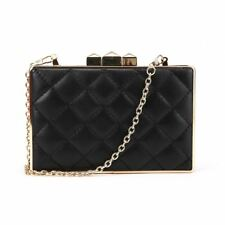 05e294e930e Ladies Party Clutch Bag Club Luxury Evening Prom Hard Case Gold Chain Strap  Boxy Quilted -