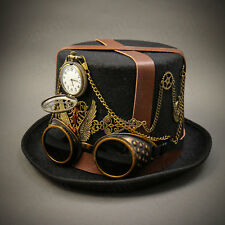 Black Vintage Steampunk Adult Men Top Hat Goggles Burning Man Costume Accessory