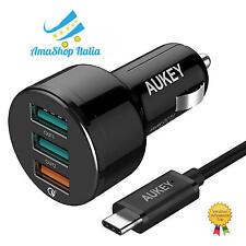AUKEY Quick Charge 3.0 Caricatore da Auto con 3 Porte di 42W RICARICA VELOCE