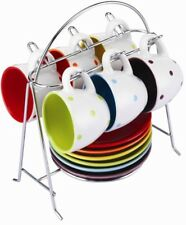 Zodiac Colours Set of 6 Espresso Cups & Saucers with Chrome Stand - Spotty