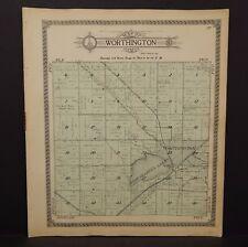 Minnesota Nobles County Map Worthington Township 1914  L15#32