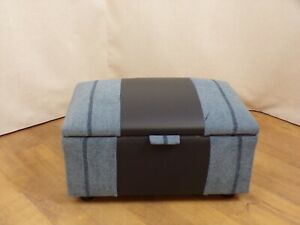 Small Dark Blue Leather and Fabric Footstool