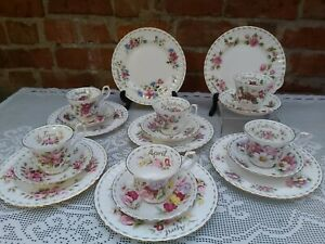 Royal albert flower of the month Salad plates ,cups & saucers 2nd