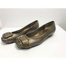 Bandolino JOLLY JO Gold & Snakeskin Patent Career Flat Heel Buckle Detail Size 6