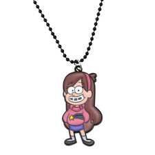 "Gravity Falls MABEL PINES 2"" Enamel Pendant/Necklace on 18"" Black Ball Chain"