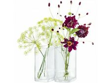 LSA Echo Vase Set Modern Matching Bookend Vases Clear Glass Contemporary Design