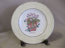 WEDGWOOD SARAH'S GARDEN SALAD PLATE VIOLA TRICOLOR YELLOW BORDER EXCELLENT COND.