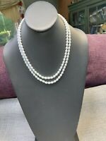 """Vintage 1950's 36"""" White Milk Glass Beaded Long Sweater Necklace"""