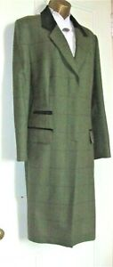 COUSINS of CHELTENHAM Long Wool Tweed Coat  Fits 14 to16 Green windowpane check
