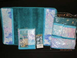 Popular Bath Tammi Aqua 6Pc Bath/Bathroom Set Shower Curtain/Hooks/Towels/Rug