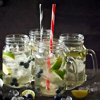 8 Piece Kilner Clear 14oz Drinking Glass Handled Jars Cocktail Cups Straws Mugs