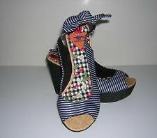 ROCKET DOG WEDGE BLACK WHITE STRIPE SANDAL PEEP TOE TIE 10 NO BOX NWOT