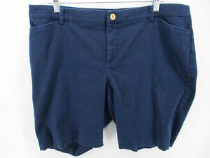 Lauren Ralph Lauren Shorts 16W Plus Navy Blue Bermuda Gold Button Stretch Walk