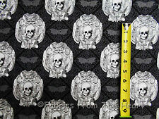 Gothic Skulls Bone Head Gray on Black BY YARDS Michael Miller Cotton fabric