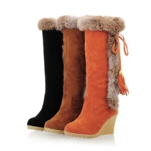 Womens Fringe Decor Furry Suede Leather Snow Warm Winter Casual Knee High Boots