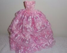 BEAUTIFUL PINK BARBIE GOWN WITH 4 ROWS OF PINK LACE AROUND ENTIRE GOWN LACE TOP