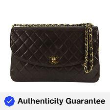 Chanel Marrom Chocolate acolchoado Lambskin Grande Bolsa Flap Corrente De Ouro 862402