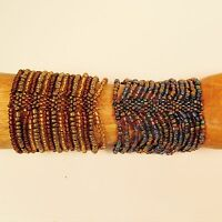 Set of 2 Blue Gold Color  Multi Strand Handmade Cleo Stretch Seed Bead Bracelets