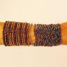 Set of 2 Blue Gold Color  Multi Strand Handmade Cleo Stretch Seed Bead Bracelets