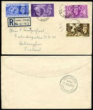 GB 1948 OLYMPIC GAMES SET FIRST DAY COVER REGISTERED to FINLAND