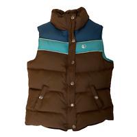 Good Goose Puffer Vest Down Women's S Green Brown Zip Snap