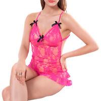 Sexy Women Ladies Lingerie Lace Mini Dress Sleepwear Babydoll Hot G-String New