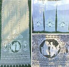 3 ANTIQUE BELLE EPOQUE BOBBIN LACE/ FIGURAL NEEDLE-LACE BOUDOIR CURTAINS/ DRAPES