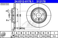 2x Bremsscheibe für Bremsanlage Hinterachse ATE 24.0312-0178.1