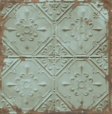 Tin Ceiling Look Wallpaper Teal/Gilver