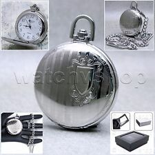 Silver Pocket Watch Brass Mens Fashion Quartz Arabic Numbers Dial Chain Box P84