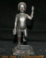 "10.4"" Ancien Tibet Bouddhisme Bronze Stand Shakyamuni Amitabha Bouddha Statue"
