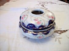 Vintage Hair Receiver - White with Blue Trim and Floral Design