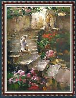 """Hand-painted Original Oil painting art landscape girl On Canvas 24""""x36"""""""