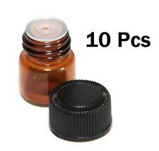 10Pcs 1ml Amber Brown Glass Dropper Bottles Vials Orifice Reducer Essential Oils