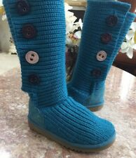 UGG 1967 CARDY BLUE SWEATER KNIT TALL MULTI COLORED BUTTON BOOT SIZE 3 EUC!