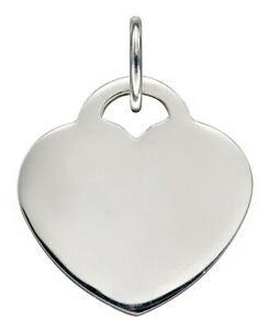 Beginnings 925 Sterling Silver Engravable Heart Shaped Disc Necklace of Length