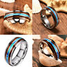 Women 8mm Tungsten Carbide  Wood and Abalone Shell titanium steel Rings