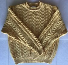 XL Unused Vintage ABERCROMBIE FITCH Fisherman ALL WOOL Cable Knit Sweater YELLOW