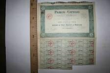 PARÍS CONGO, ACCIÓN DE 100 FRANCOS, PARIS, 1925 MBC VER FOTO