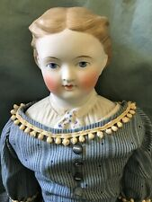 1870's Antique Parian Doll with Decorated Shoulder Plate Antique Leather Body