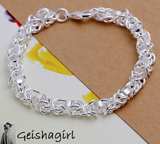 925 Sterling Silver Jewellery Shrimp Buckle Chain Bracelet Bangle UK Seller