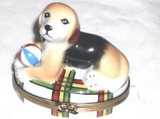 GR Limoges Hand Painted Beagle Dog with Ball Lounging on Oval Trinket Box