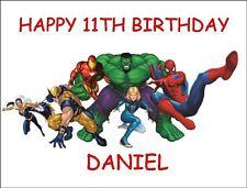 A4 Superheroes Hulk Spiderman Iron Man hoja De Glaseado Comestible Cumpleaños Pastel Topper