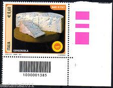 ITALIA 2011 FORMAGGI GORGONZOLA CODICE A BARRE 1385 MNH** 191A   ANGOLO LEGGI