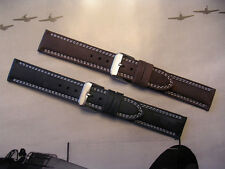 22mm Brown Bomber Pilot Distressed Suede watchband Aviator strap IW SUISSE 20-24