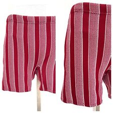 Vintage VTG 1950s 50s Red and White Striped Knit Swim Shorts