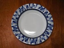 """Dansk Portugal RADIA Set of 4 Rimmed Soup Bowls 8 3/4"""" Blue Textured Rim B"""