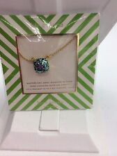 $48 Kate Spade 12k Gold-plated Blue Glitter Pendant Necklace SP-7