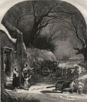 The first fall of snow - drawn by Birket Foster. Landscapes, antique print, 1859